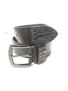 Men's Black SuperDry Leather Belt Size 34 To 36 Waist Nw(uk01351)