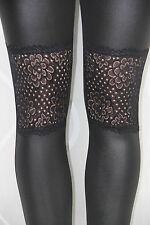 BP70 Sexy Leggings Leggins Leder Schwarz Glanz Netz Spitze Muster Elegant
