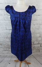 """OASIS lined dress 10 bust 34"""" mod 60s blue black 100% pure silk pleated floral"""