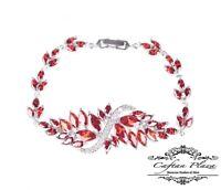 Armband Bracelet 18K weiss gold mit Swarovski AAA Kristallen rot 19 cm