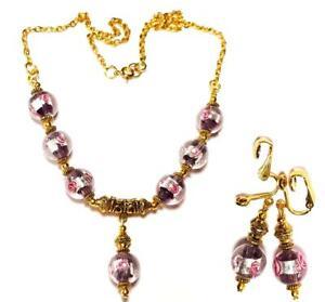 GOLD NECKLACE CLIP-ON EARRING SET Purple unique gypsy vintage antique style