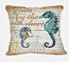 Seahorse Decorative Throw Sofa Complete Pillow Nautical Coastal Decor
