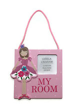 "Gisela Graham Pink Ballerina Wooden ""MY ROOM"" Picture Plaque Frames Hanging Gift"