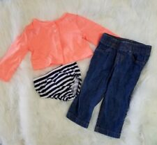 Carter's baby set of 3 pieces size 9 months cotton jeans cardigan underware girl
