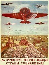 POLITICAL MILITARY PROPAGANDA SOVIET UNION AIRFORCE COMMUNIST POSTER 1802PYLV