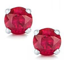 1.3 Carat Genuine Ruby Earrings In .925 Sterling Silver