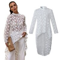 Women Irregular Dress O-Neck Long Sleeve Lace Perspective Dress High Low AsH6I2