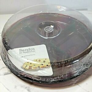 Sandra by Sandra Lee 6 Piece Covered Server Set red base clear Lid From Sears