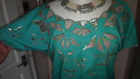 River island pretty Green With Strking Embroidery & Sequins top Size 12