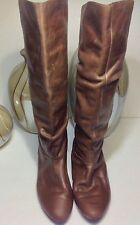 Nine West Light Distressed Brown Leather Knee High Boots Womens Sz 9.5M