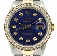 Rolex Datejust Mens 2Tone 18K Gold Steel w/ Blue Diamond Dial & 1ct Bezel 16013