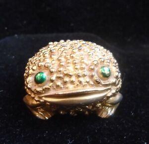 Revlon Gold Tone Solid Perfume Compact Green Eye Frog David Webb Design