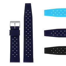 StrapsCo Vintage Perforated Silicone Rubber Rally Dive Watch Band Strap