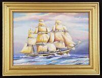 Antique Clipper Ship Original Oil Painting Sailboat Seascape Nautical Maritime