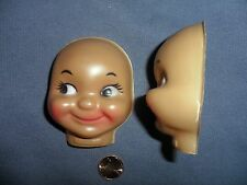 Vintage Plastic African American Smiling Girl Faces set of 2