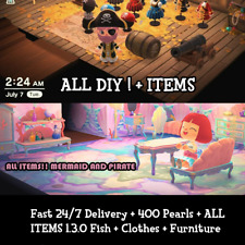Animal Crossing:New Horizons 1.3.0 ALL Mermaid +Pirate Items + Clothes + DIY NEW
