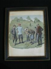 Vintage Borghese Reproduction of Antique Golf Watercolor, Beautifully Framed