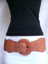 "New Women Belt Fashion High Waist Hip Mocha Brown Crocodile Stamp 25""-35"" XS S M"