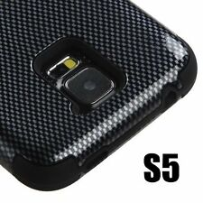 For Samsung Galaxy S5 - HARD & SOFT RUBBER HYBRID CASE COVER BLACK CARBON FIBER