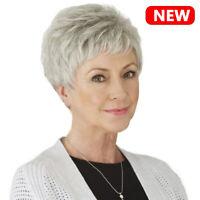 Short White Wigs For Women Short Wavy Hair Pixie Cut Style Wigs For Elder Women