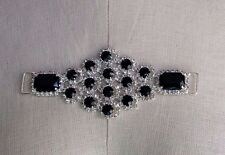"2"" X 5""  D-LOOP Silver - Tone GLASS RHINESTONE & BLACK BEAD Embellishment"