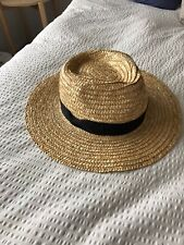 LACK OF COLOR The Spencer Boater Hat Size M Medium Straw With Black Bow