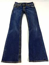 YASO WOMENS DARK WASH LOW RISE BOOT CUT DISTRESSED JEANS JRS SIZE 1/2