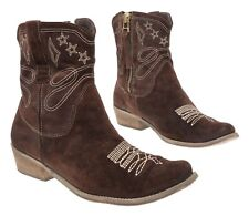 BOUTIQUE 9 Cowboy Boots 9.5 B Womens Side Zip BILLY Leather Western Ankle Boots