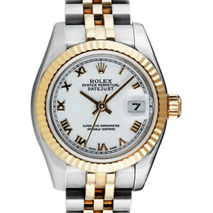 ROLEX Ladies White Roman 18kt Gold & SS DateJust 179173 SANT BLANC