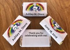 72 UNICORN RAINBOW Kid Birthday Personalized wrappers HERSHEY MINIATURES FAVORS