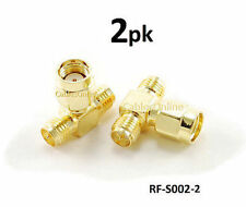 2-PACK RP-SMA Jack-Plug-Jack 1 Male/2 Female RF Antenna T-Adapter, RF-S002-2