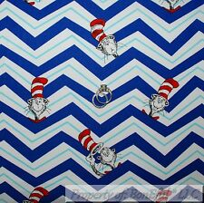 BonEful Fabric Cotton Quilt Dr Seuss Cat in the Hat Chevron Stripe Boy USA SCRAP
