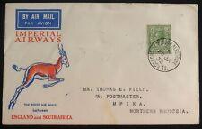 1932 Croydon England First Flight Airmail Cover Ffc To Mpika Northern Rhodesia