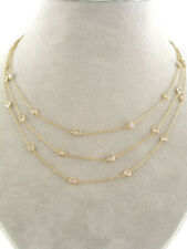 """Rhodium Gold 54"""" Clear CubicZirconia CZ Bezel Set By the Yard Station Necklace"""