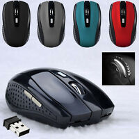 2.4GHZ MOUSE SENZA FILI CORDLESS OTTICO SCROLL PC LAPTOP CON USB DONGLE UK