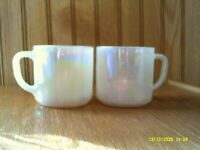 2 Vintage Federal Glass Moonglow Pearl Iridescent Milk Glass Coffee Mugs Cups