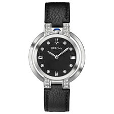 Bulova Women's 96R217 Rubaiyat Quartz Diamond Accents Leather Band 35mm Watch