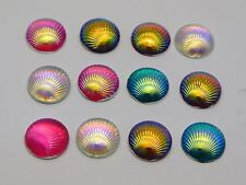 100 Mixed Color With AB Shell Acrylic Flatback Round Cabochons 10mm