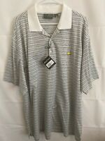 NWT Masters Amen Corner Men's Large Black White Stripe Pima Cotton Golf Polo