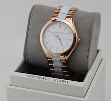 NEW AUTHENTIC MICHAEL KORS SLIM RUNWAY ROSE GOLD WHITE WOMEN'S MK4311 WATCH