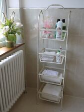 Cream Shabby Chic Bathroom/Shop/Display Storage Shelves/Baskets x 4 3127