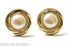 9ct Gold Pearl Button Stud Earrings Made in UK Gift Boxed