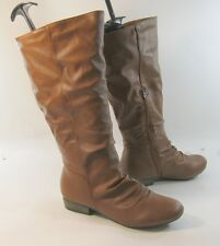 new ladies Tan Soft  Round Toe sexy Mid-Calf Boots Size 8