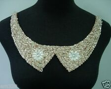 NK260 Embellished Peter Pan Collar Necklace Sequin Beaded Motif Design/Fashion