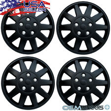 "4 New Matte Black 15"" Hubcaps Fits Ford Suv Car Steel Wheel Covers Set Hubcaps"