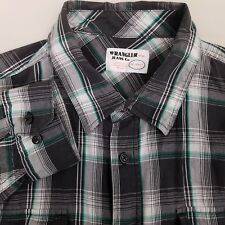 Wrangler Men's Button Up Shirt Size 3XL XXXL Cotton Plaid Gray Green