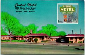 Roswell, New Mexico Postcard CENTRAL MOTEL 1003 No. Main Street Roadside c1950s