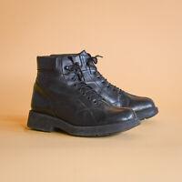 Black Leather Laced Ankle Boots Vintage 90's Y2K Women's UK 4 EUR 37 US 6