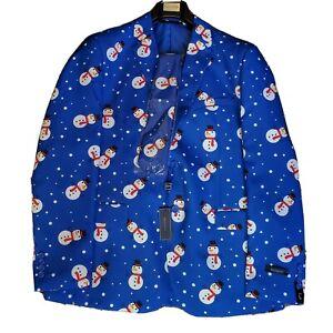 New Braveman Mens Christmas Snowman Suit Blue 44L 38Wx32L With Tie