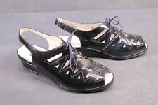C1190 Berkemann Damen Fußbett Comfort Sandalen Lackleder blau Gr. 41 geschnürt